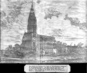 """Architects Impression of Killorglin R.C. Church. The Spire has yet to be built, and to the right of the drawing are the Convent Schools which were to be built in """"The Priests Meadow""""."""
