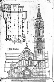 Architects Impression of Killorglin R.C. Church. The Spire has yet to be built,