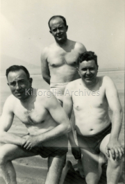 Paddy Lenihan Dr Billie Prendivile, Gerald Hartnet. after swiming in RossbeighFaces Of Killorglin Ref: F071