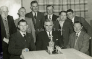 Faces of Killorglin, Back r ? Duffey Shea, micheal O'Donaghue,? Shinner Carrol Padso McMacarty, Front R Tom Moriarty Mayor Cahillane Ted Mangan making a presentation of waterfort Glass,