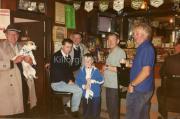Joe Sheehan, Shandy (Cyril O'Neills Dog)Pat Mc Kenna, Patsy Joy, Mc Kenna, Francie Sheehan & Mick Murphy in Sheehans Bar after Laune Rangers won the All Ireland Club Champianship 1996