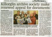 2nd January 2013 Killorglin Archive Society Make Renewed Appeal For Documents Kerryman Newspaper Article