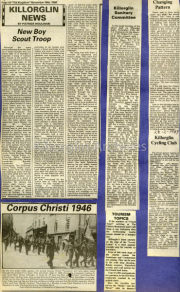 New Boy Scout Troop, Corpus Christi 1946, Killorglin Sanitary Committee, Tourism Topics, Changing Pattern, Killorglin Cycling Club