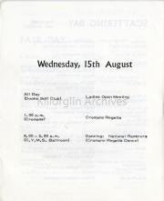 Wednesday 15th August List Of Events