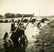 Boys On A Cart In The River Laune With The County Bridge Behind