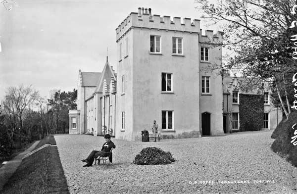 The Great Southern Hotel, Caragh Lake with the turret which was a very recognisable architectural feature of the building when viewed from across Caragh Lake