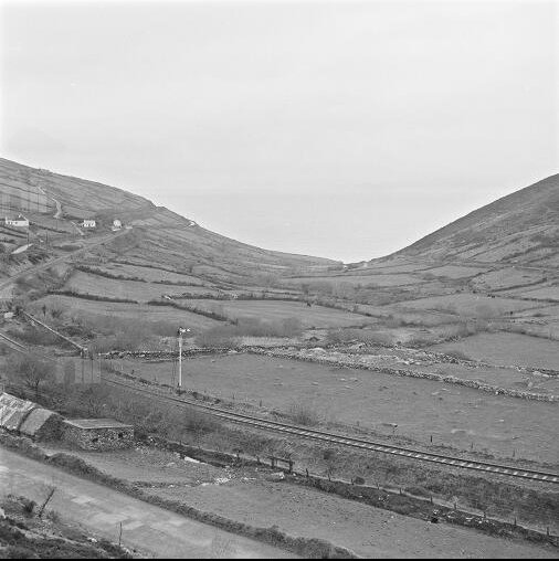 A view from the railway line on Drung Hill looking down at Dingle Bay