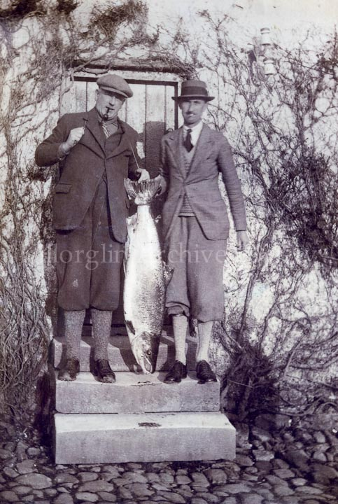 Two proud Anglers in plus fours photographed on steps of Fishery Office,Tralee Road, Killorglin, mid 1920's