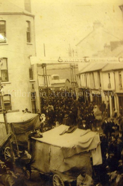 Scene at the Square, Killorglin, during Puck Fair, circa 1900's