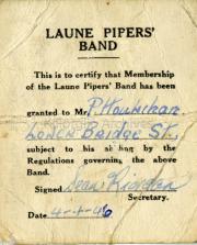 1946 Patrick Houlihans membership of the Laune Pipers Band
