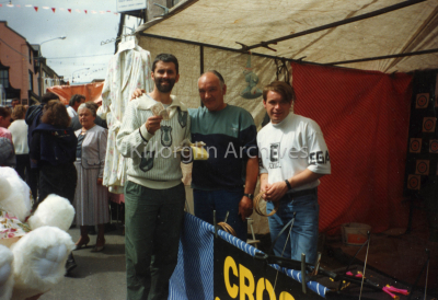Declan Falvey collecting for stalls during Puck 1992 also facing camera Bridie Walsh Nee Houlihan