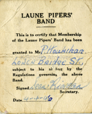 1946 Patrick Houlihans membership of the Laune Pipers Band