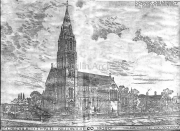 "Architects Impression of Killorglin R.C. Church. The Spire has yet to be built, and to the right of the drawing are the Convent Schools which were to be built in ""The Priests Meadow""."