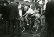 Start of a cycling race in a field,