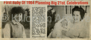 Newspaper Article with photos - First Baby of 1964