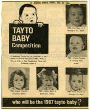 Newspaper - Tayto Baby Competition- Evening Hearld,Friday Dec. 30th 1966