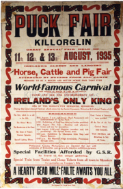 1935 Puck Fair Poster advertising cheap train tickets from Tralee and all towns in Munster.jpg