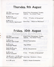 Thursday 9th & Friday 10th August List Of Events